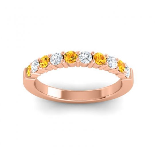 Classic Ardha Diamond Band with Citrine in 14K Rose Gold