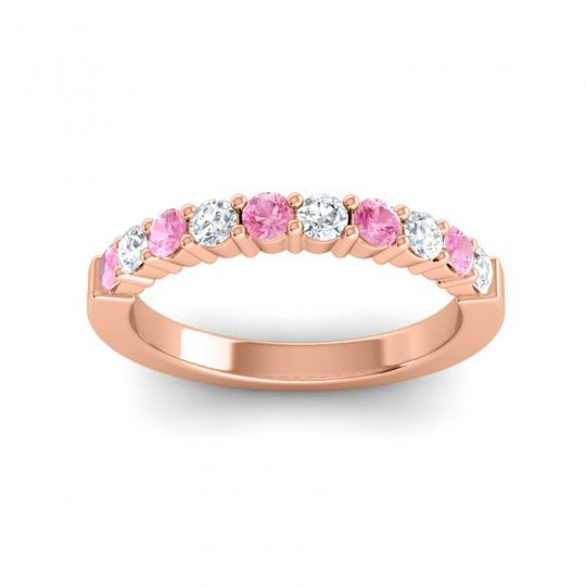 Diamond Classic Ardha Band with Pink Tourmaline in 14K Rose Gold