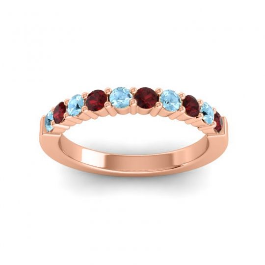 Garnet Classic Ardha Band with Aquamarine in 18K Rose Gold