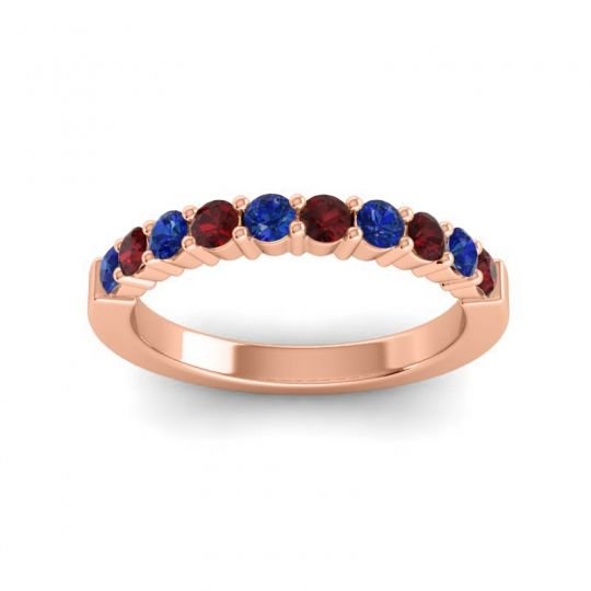 Garnet Classic Ardha Band with Blue Sapphire in 14K Rose Gold