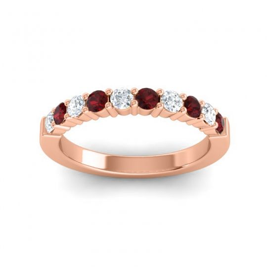 Garnet Classic Ardha Band with Diamond in 18K Rose Gold