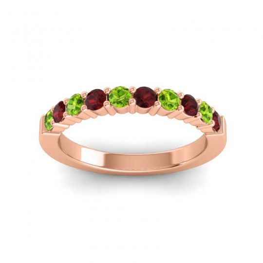 Garnet Classic Ardha Band with Peridot in 18K Rose Gold