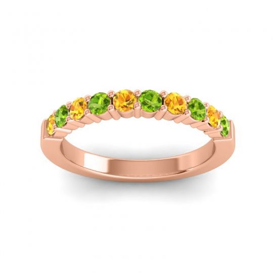 Peridot Classic Ardha Band with Citrine in 14K Rose Gold