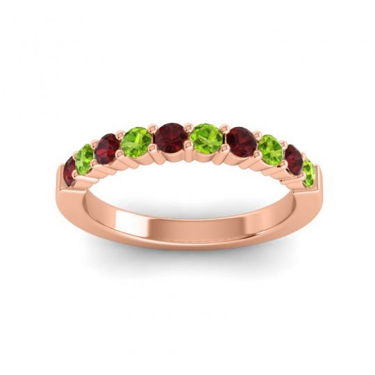 Peridot Classic Ardha Band with Garnet in 18K Rose Gold