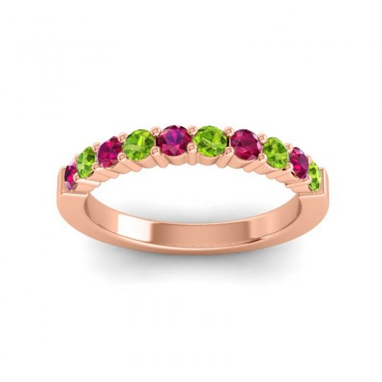 Peridot Classic Ardha Band with Ruby in 14K Rose Gold