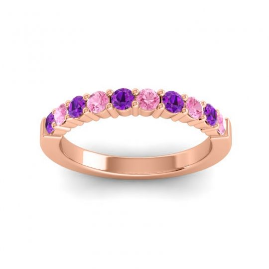 Pink Tourmaline Classic Ardha Band with Amethyst in 18K Rose Gold