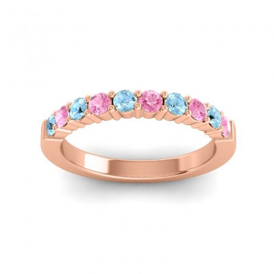 Pink Tourmaline Classic Ardha Band with Aquamarine in 18K Rose Gold