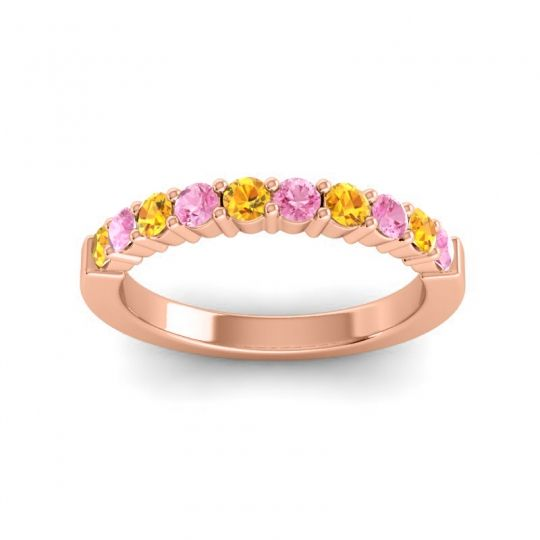 Pink Tourmaline Classic Ardha Band with Citrine in 18K Rose Gold