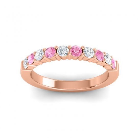 Pink Tourmaline Classic Ardha Band with Diamond in 18K Rose Gold