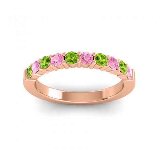 Pink Tourmaline Classic Ardha Band with Peridot in 18K Rose Gold