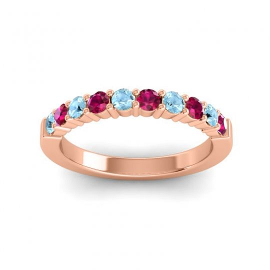 Ruby Classic Ardha Band with Aquamarine in 14K Rose Gold