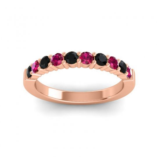 Ruby Classic Ardha Band with Black Onyx in 14K Rose Gold