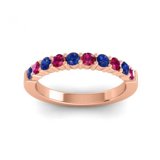 Ruby Classic Ardha Band with Blue Sapphire in 14K Rose Gold