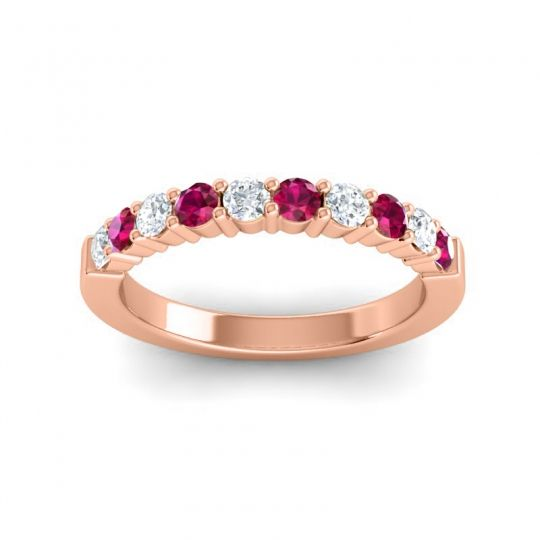 Ruby Classic Ardha Band with Diamond in 18K Rose Gold