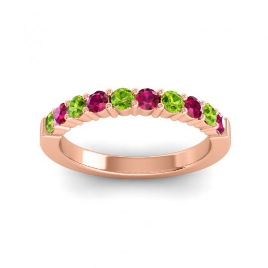 Ruby Classic Ardha Band with Peridot in 14K Rose Gold