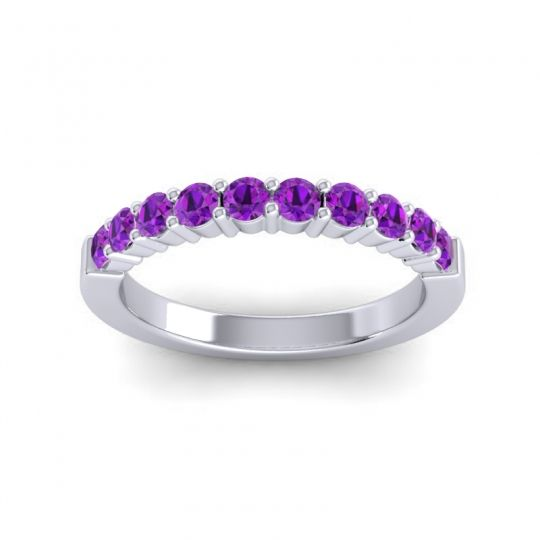 Classic Ardha Amethyst Band in Platinum