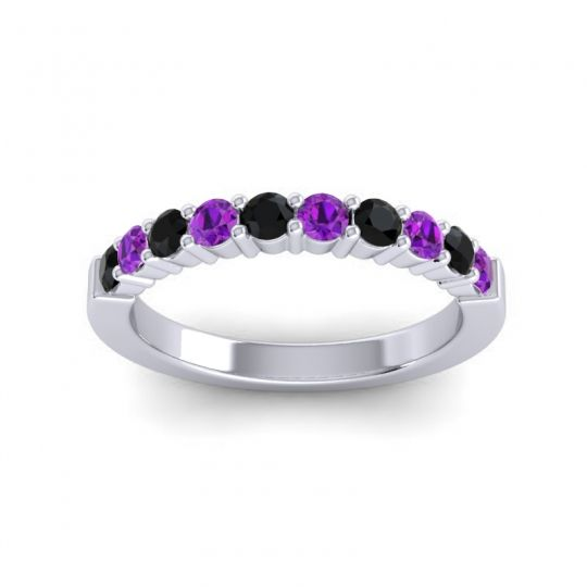 Amethyst Classic Ardha Band with Black Onyx in 14k White Gold