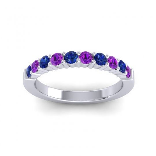 Amethyst Classic Ardha Band with Blue Sapphire in 18k White Gold