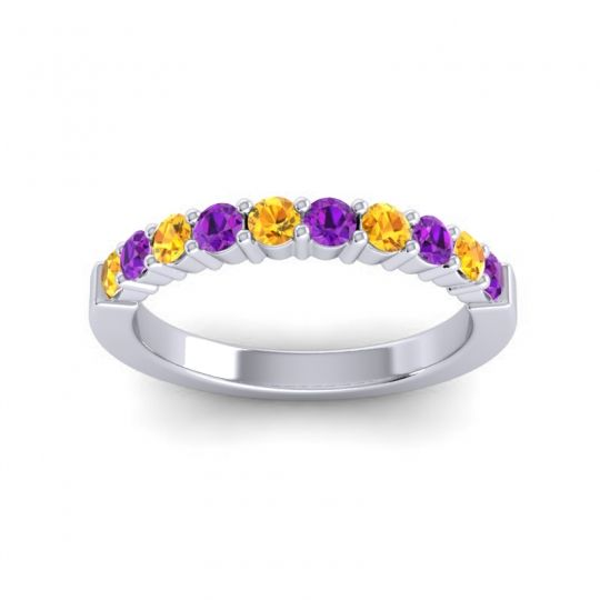 Amethyst Classic Ardha Band with Citrine in 14k White Gold