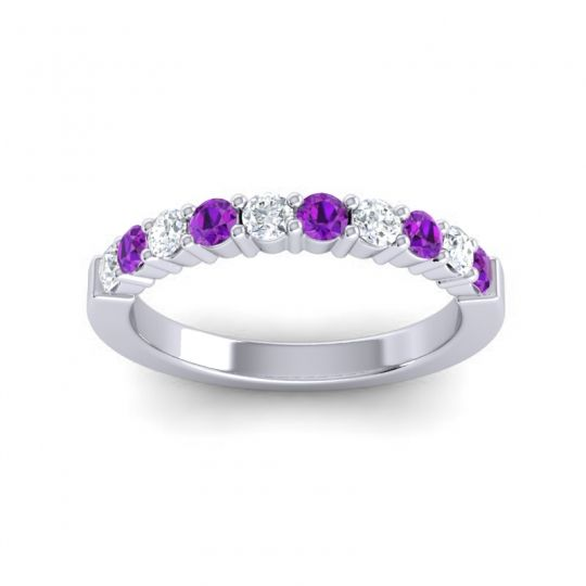 Amethyst Classic Ardha Band with Diamond in Platinum