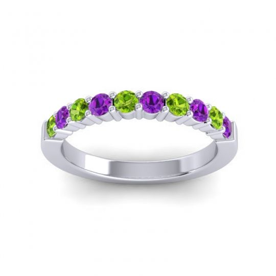 Amethyst Classic Ardha Band with Peridot in Palladium