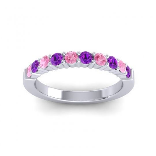 Amethyst Classic Ardha Band with Pink Tourmaline in 14k White Gold