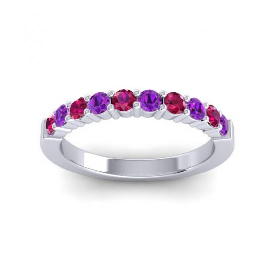 Amethyst Classic Ardha Band with Ruby in Platinum