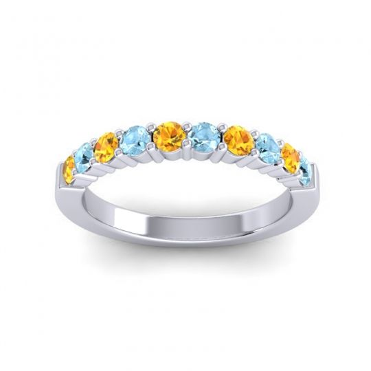 Aquamarine Classic Ardha Band with Citrine in 18k White Gold