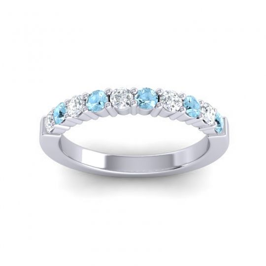 Aquamarine Classic Ardha Band with Diamond in 14k White Gold