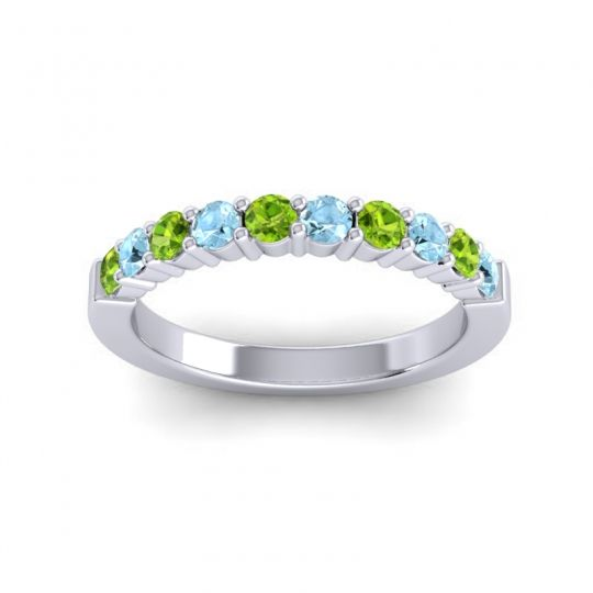 Aquamarine Classic Ardha Band with Peridot in Platinum