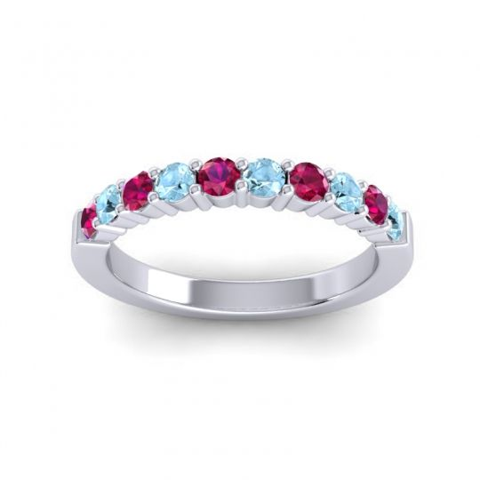 Aquamarine Classic Ardha Band with Ruby in 18k White Gold