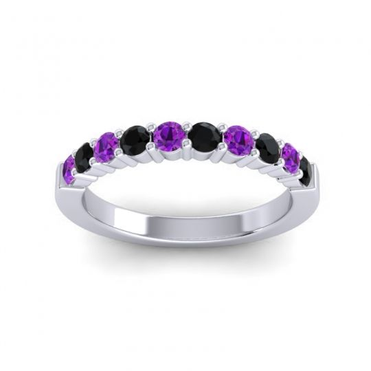 Black Onyx Classic Ardha Band with Amethyst in 14k White Gold
