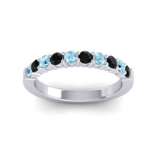 Black Onyx Classic Ardha Band with Aquamarine in 18k White Gold