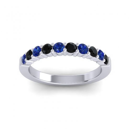 Black Onyx Classic Ardha Band with Blue Sapphire in 14k White Gold