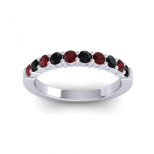Black Onyx Classic Ardha Band with Garnet in 14k White Gold