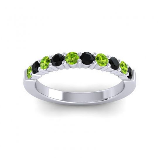 Black Onyx Classic Ardha Band with Peridot in 18k White Gold
