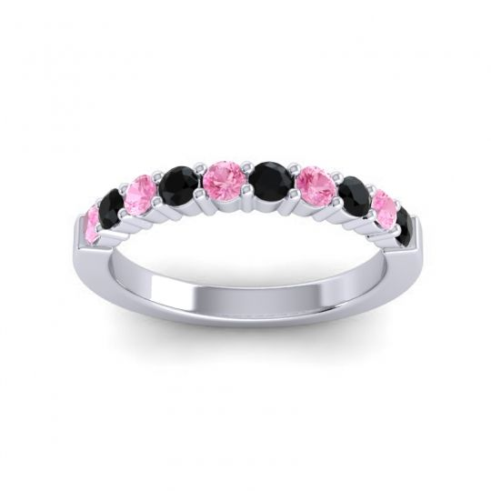 Black Onyx Classic Ardha Band with Pink Tourmaline in 14k White Gold