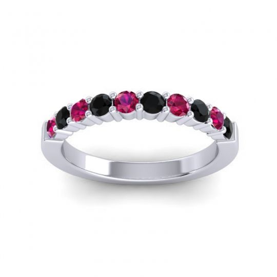 Black Onyx Classic Ardha Band with Ruby in Platinum
