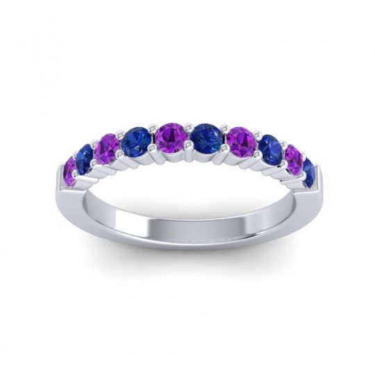 Blue Sapphire Classic Ardha Band with Amethyst in Platinum
