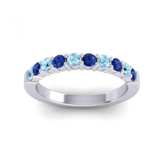 Blue Sapphire Classic Ardha Band with Aquamarine in 14k White Gold