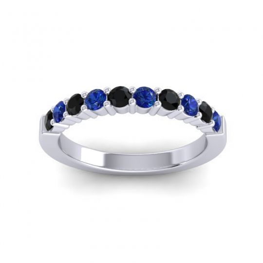 Blue Sapphire Classic Ardha Band with Black Onyx in 14k White Gold