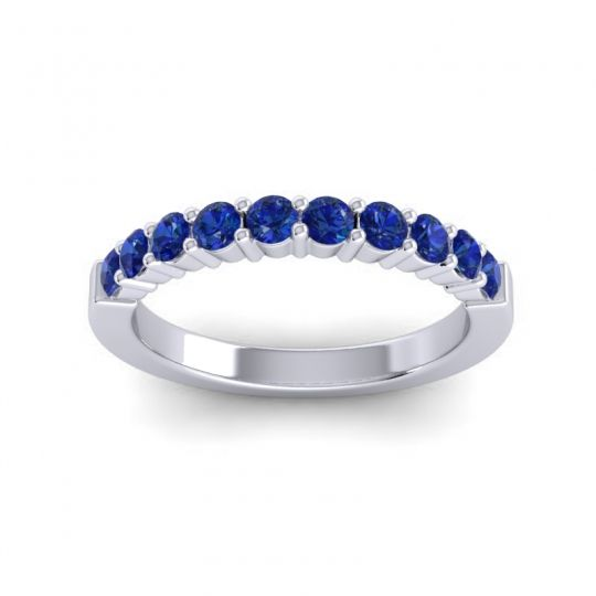 Blue Sapphire Classic Ardha Band in 14k White Gold