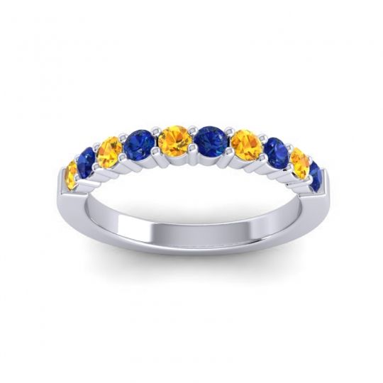Blue Sapphire Classic Ardha Band with Citrine in 18k White Gold