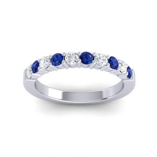 Blue Sapphire Classic Ardha Band with Diamond in 14k White Gold