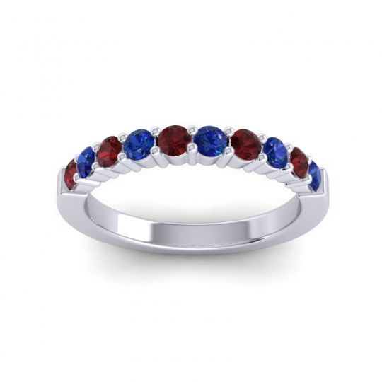 Classic Ardha Blue Sapphire Band with Garnet in Platinum