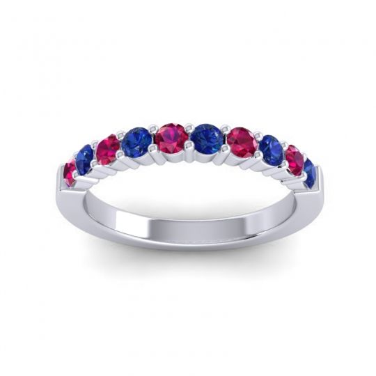 Blue Sapphire Classic Ardha Band with Ruby in 18k White Gold