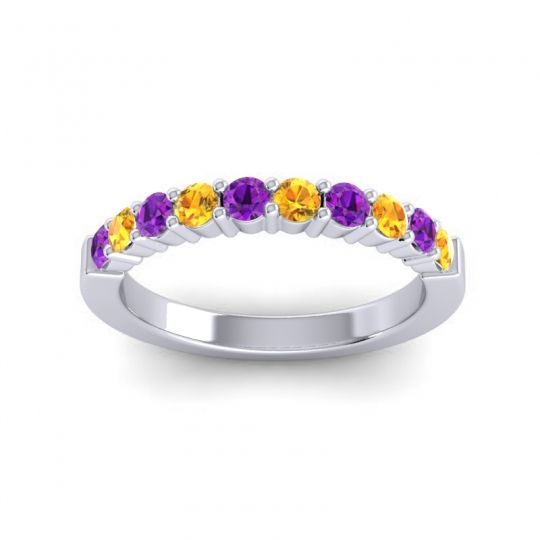 Citrine Classic Ardha Band with Amethyst in 18k White Gold