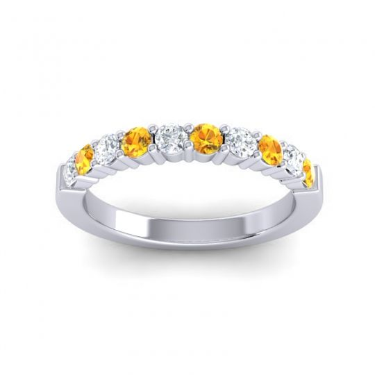 Citrine Classic Ardha Band with Diamond in 18k White Gold