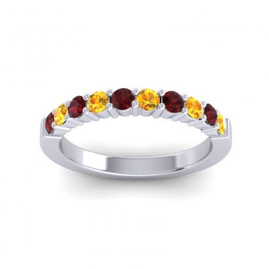 Citrine Classic Ardha Band with Garnet in Platinum