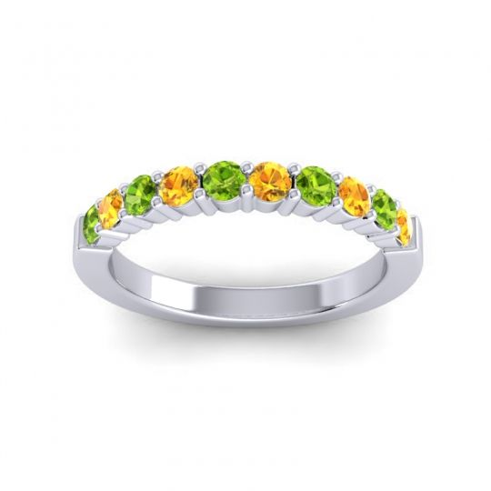 Citrine Classic Ardha Band with Peridot in 18k White Gold
